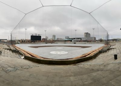 Wichita Riverfront Stadium Backstop Dual Cable Tie-Back Tension Safety Netting System